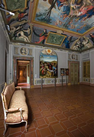 Salone delle feste del Palazzo Pianetti con opere di Lorenzo Lotto